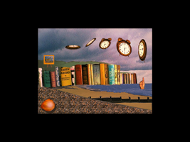 beachscape with flying alarm clocks and cliffs formed from library books